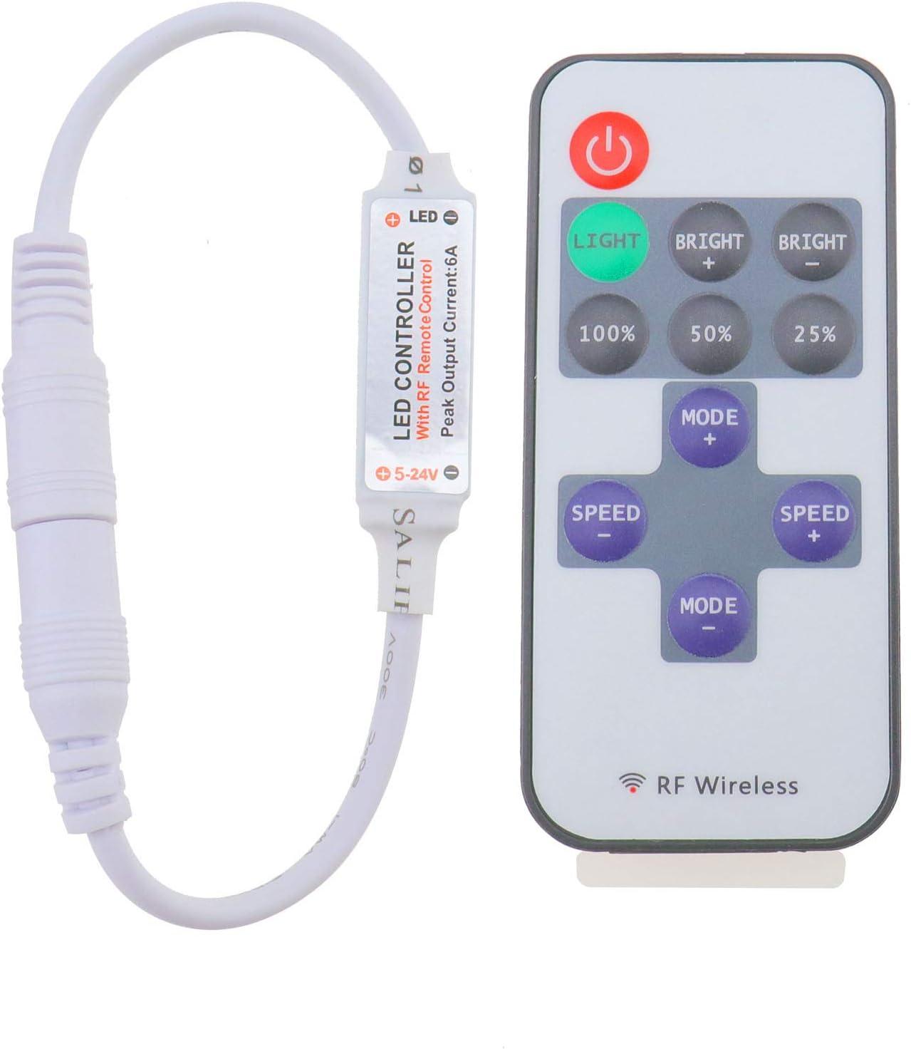 OTOTEC RF - Mando a Distancia inalámbrico para Tira de luz LED de un Solo Color, 12 V, 12 A, Mini Interruptor de Intensidad en línea