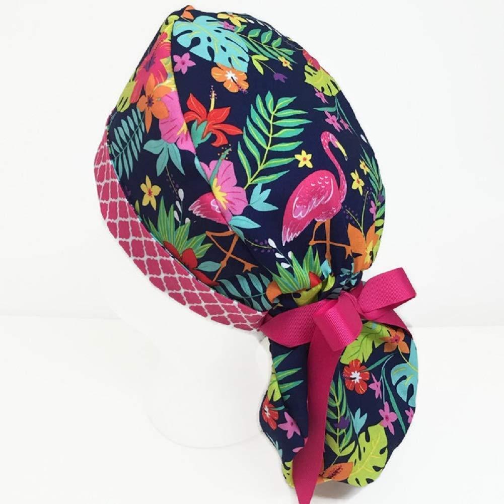 Yellow Grey Tribal Block Design Ponytail Scrub Cap for Women Scrub Hat Surgical Hat Gia Black