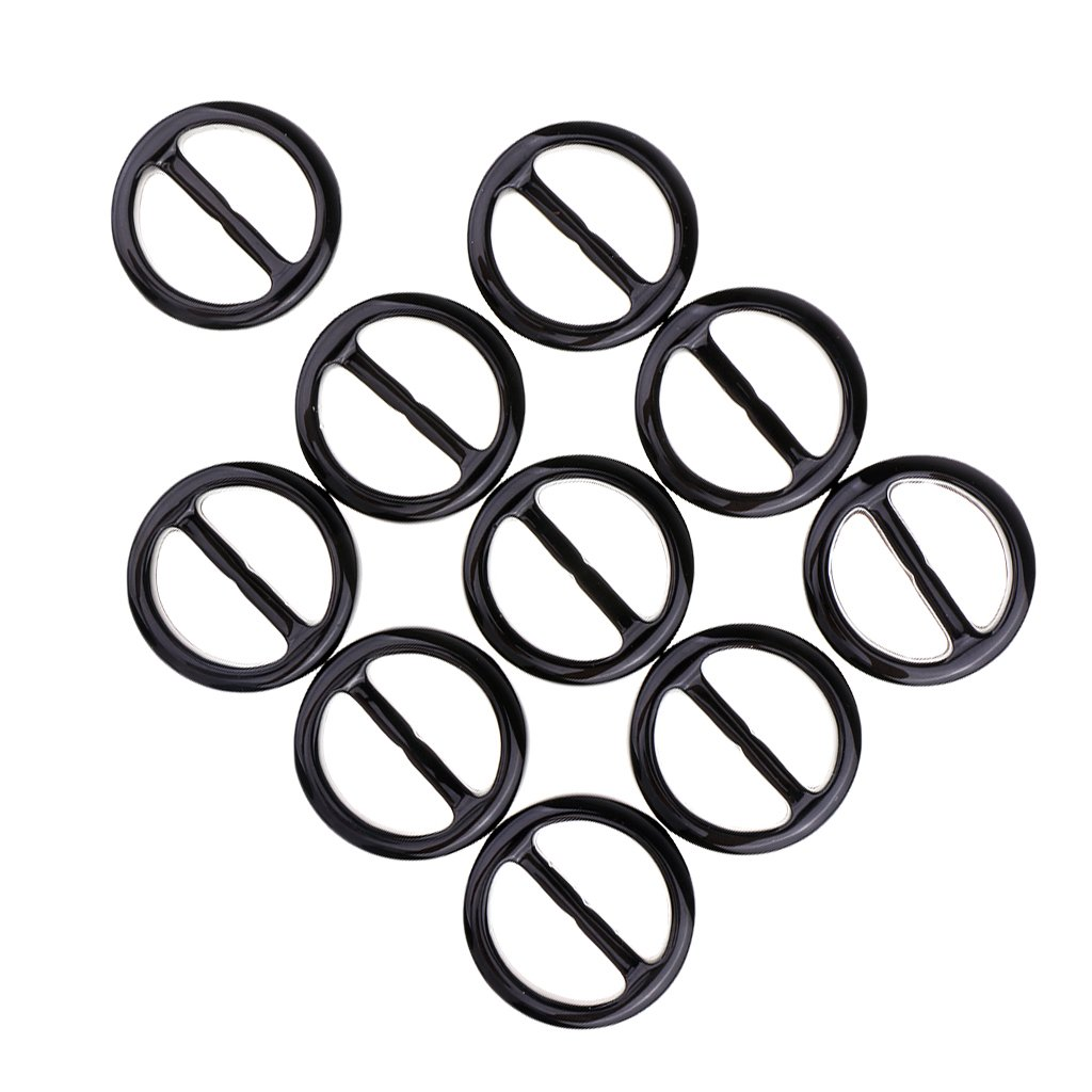 Black Round 1 Homyl 10Pcs Round Smooth Resin Scarf Ring Buckle Scarf Clip Slide Sewing Buttons
