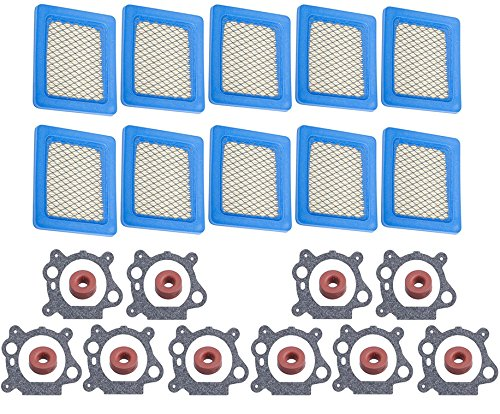 HIFROM (10 Set Carburetor Float Valve Needle Seat with 491588 Air Filter 272653 Gasket for Briggs & Stratton Engines Replace 398188 281144