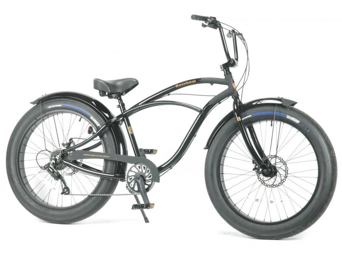 【RAINBOW (レインボー) GREASE 3.5 】 アルミフレーム26inch外装8段変速ビーチクルーザーファットバイク 湘南鵠沼海岸発信 B01HKUMMZI スペードブラック スペードブラック