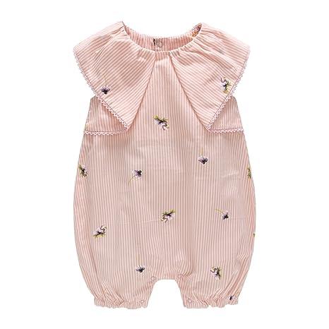 Bebé Niña Mameluco - Bebé Pelele Pijamas Algodón Mameluco Mono Impresión a Rayas Manga Corta Traje