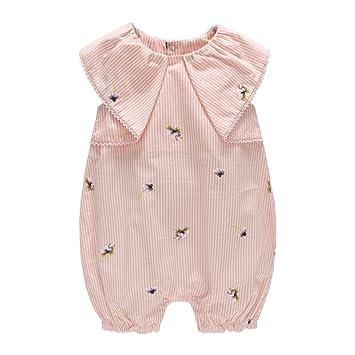 Bebé Niña Mameluco - Bebé Pelele Pijamas Algodón Mameluco Mono Impresión a Rayas Manga Corta Traje de Verano, 12-18 Meses: Amazon.es: Bebé