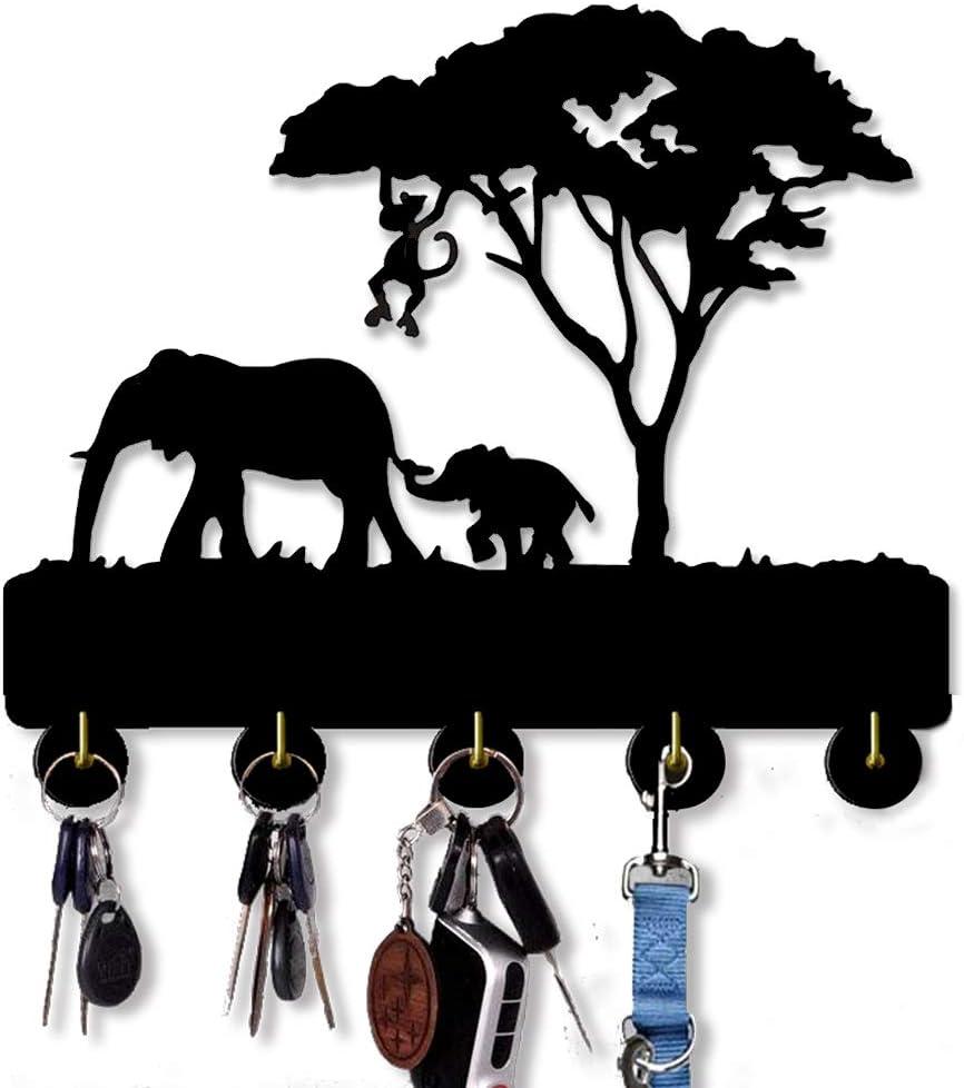 Ganci a parete per animali selvatici 20LB ganci per chiave di carico|Ganci portaoggetti domestici in legno fatti a mano|Appendiabiti per appendiabiti con portachiavi con cinque ganci in metallo max