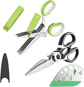 OHENNY Heavy Duty Kitchen Shears and Herb Scissors Herb Stripper Set, Combo Kit of Stainless Steel Food Scissors, 5-Blade Herb Cutter, Great for Cutting Meat, Poultry, Vegetable, Garden, and cooking