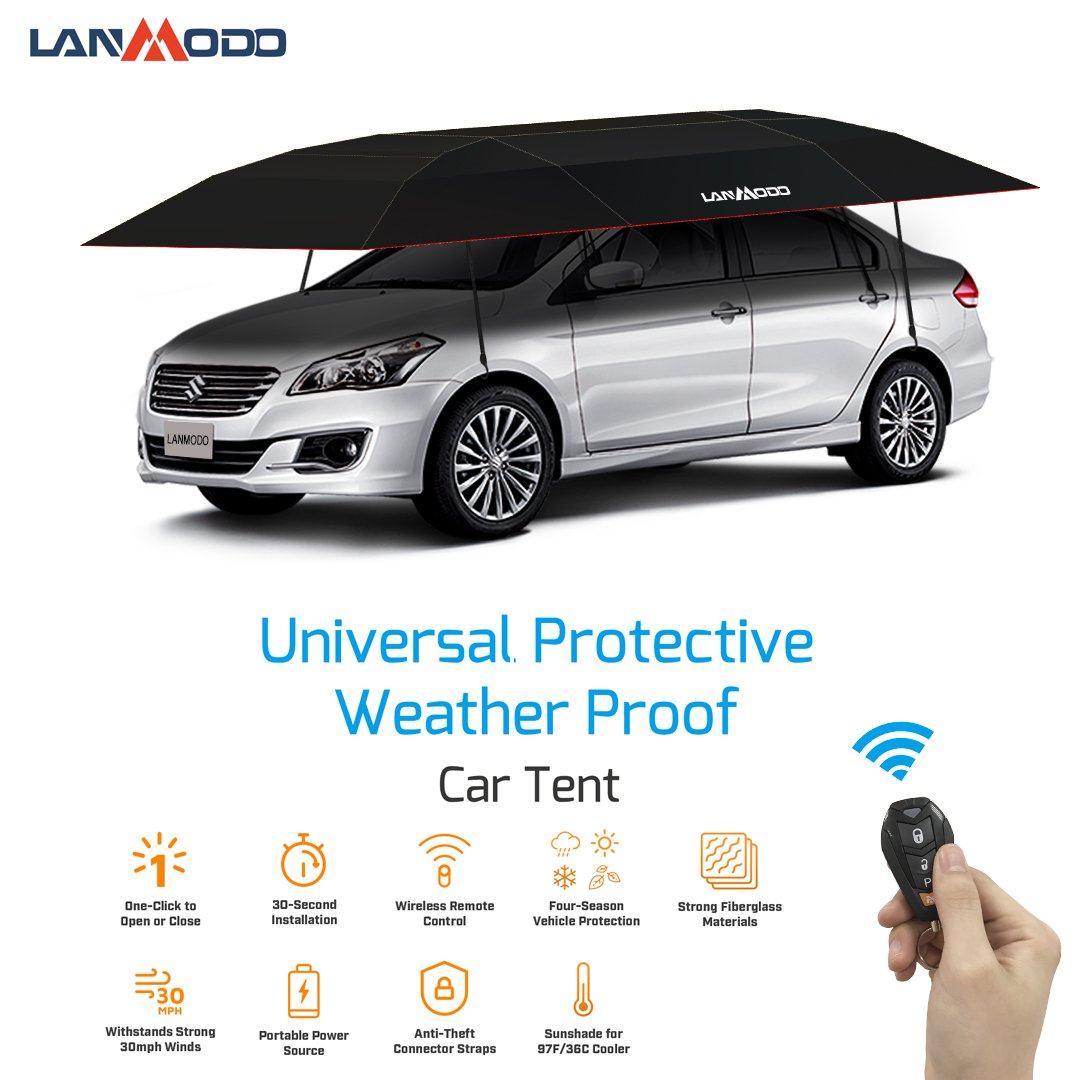 Amazon.com: Lanmodo Pro 4-Season Automatic Car Tent Cover Carport Folded,Car  Umbrella Tent Car Sunshade with Anti-UV,Water-Proof,Proof Wind,Snow, Storm,  ...