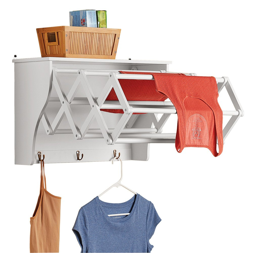 Collections Etc Accordion Expandable Wall Mounted Laundry Drying Rack with Shelf, Small