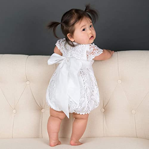 6b599239f Amazon.com  Baby Girls Grace White Christening Romper White Baptism ...