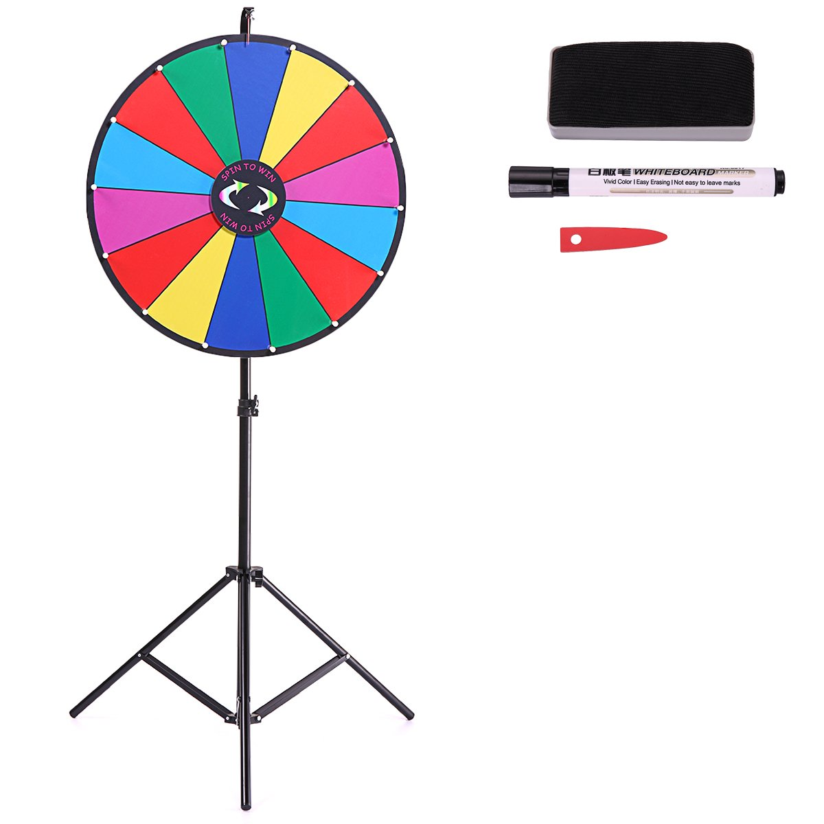 LAZYMOON 24'' Tabletop Color Dry Erase Prize Wheel Fortune Spin Game Tradeshow