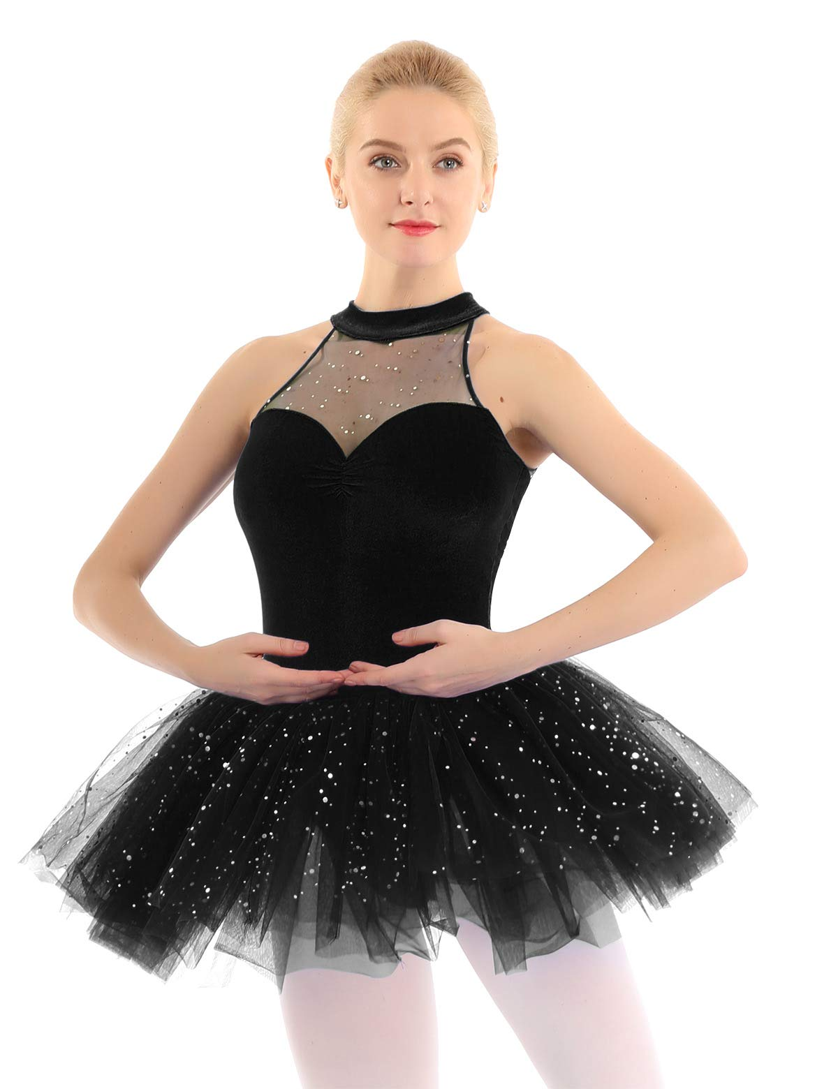 iiniim Women's Ballet Tutu Costume Black Swan Lake Dance Leotard Dress Black Sequins L by iiniim