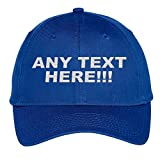 Design Your Own Hat, Personalized Text, Custom Ball Cap, Embroidered with Color Choices (Royal)