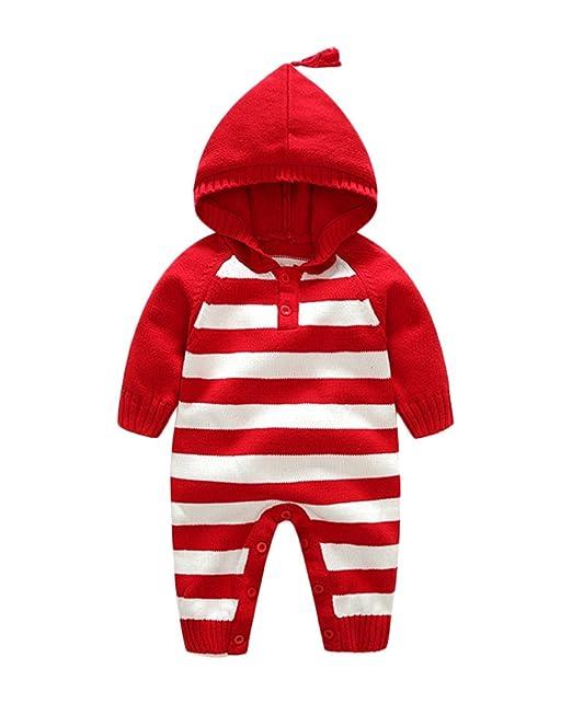 Suéter Sweater Peleles Bbebe Invierno Abrigos Bebe Sudaderas Encapuchado Camisa Rayada Suéter Navidad Ropa Rojo 90: Amazon.es: Ropa y accesorios
