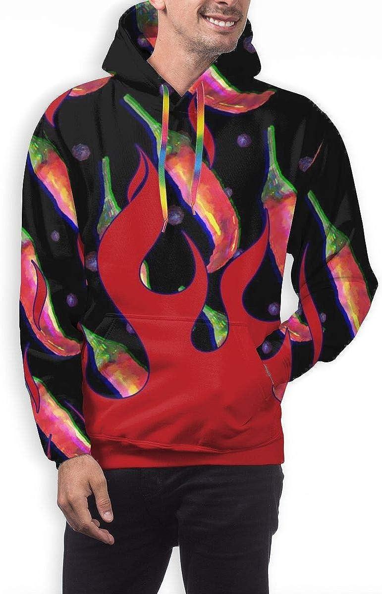 Mens Hoodie Chili Vegetables Fire Sweate Sweatshirt Mens Casual Hoodie Casual Top Hooded