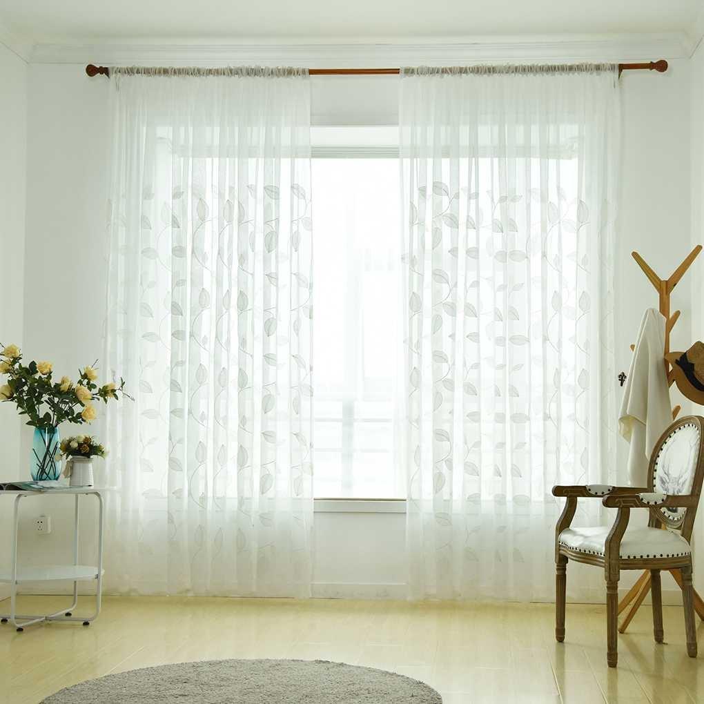Topker Ligera transparente hoja transpirable gasa bordada cortina de tul ventana de cortinas Sheer dormitorio cortinas de la sala