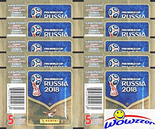 2018 Panini FIFA World Cup Russia Collection with 10 Factory Sealed Sticker Packs with 50 Stickers! Look for Top Superstars including Lionel Messi, Cristiano Ronaldo, Neymar Jr. & Many More! WOWZZER! from Wowzzer