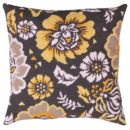 Tobin Yellow Floral Needlepoint Kit, 12 by 12-Inch, Stitched in Yarn