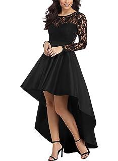 Aleumdr Femme Robe de soirée Ajourée Elégant Robe de Bal en Satin Classique  avec Dentelle à 83577448fdb