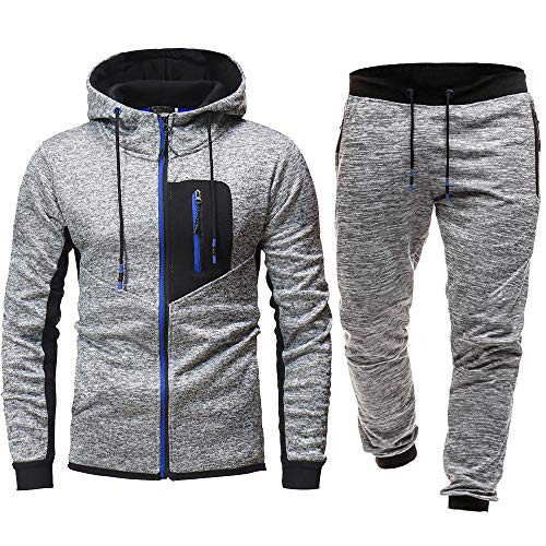 Men Sport Suit Stretchy Trousers Hooded Pants Jogging Sports Tracksuit Set (L=US M, Blue)