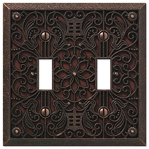 Filigree Double-Toggle Switch Plate in Aged Bronze ()