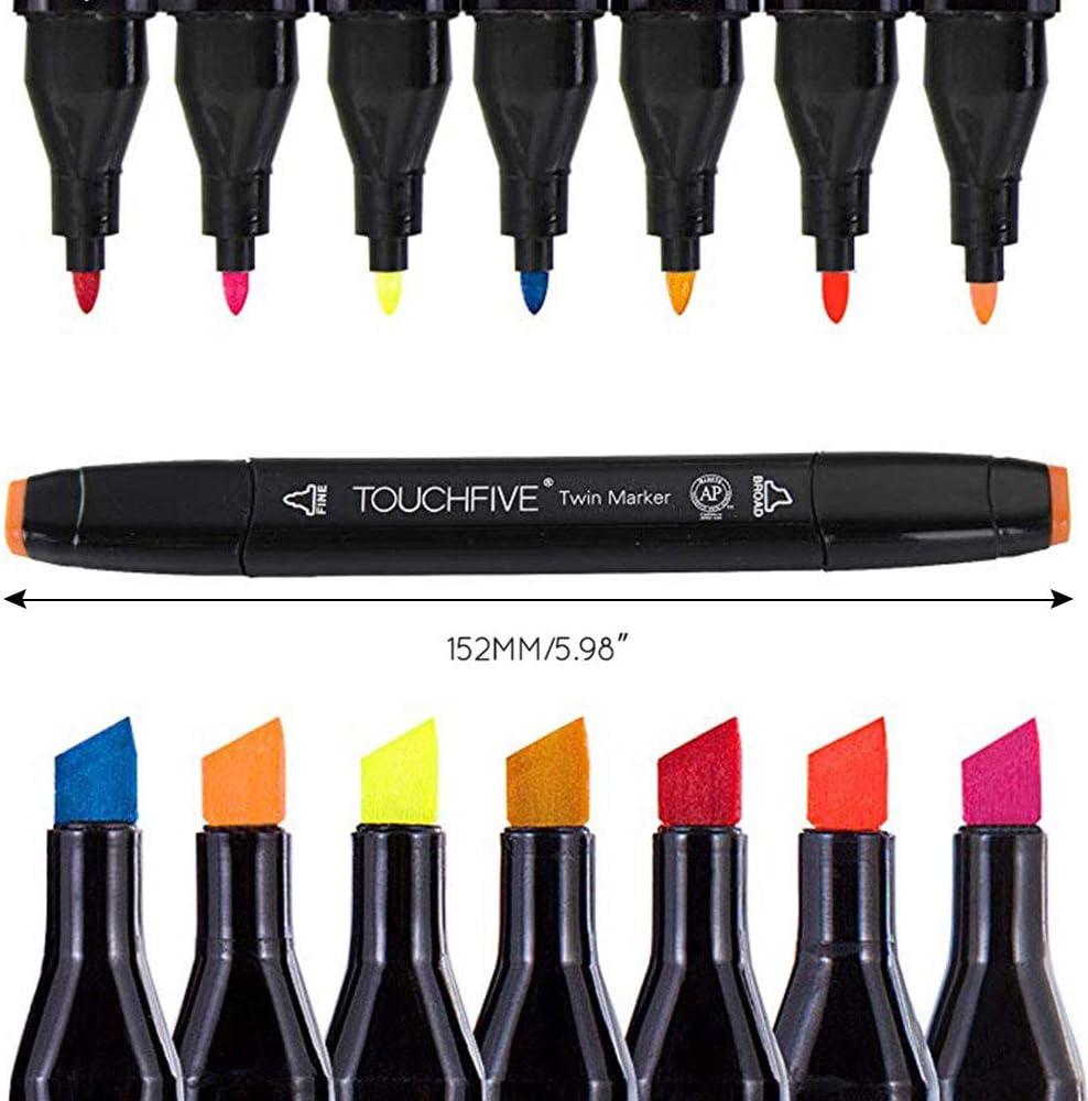 Artista Pluma de marcador gr/áfica necesaria Pluma de punta fina y punta fina con bolsa negra Blanco 40 colores