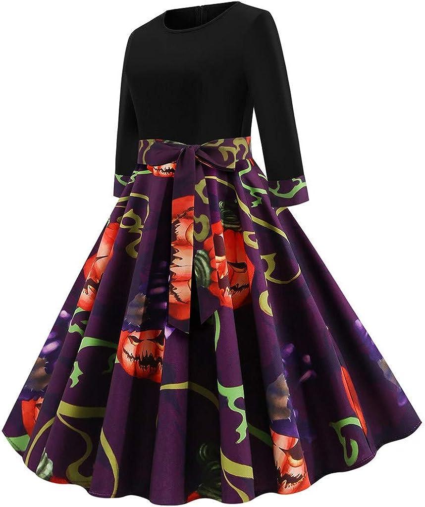 CLOOM Vestido De Halloween Mujer 50S Retro Cóctel Rockabilly Falda ...