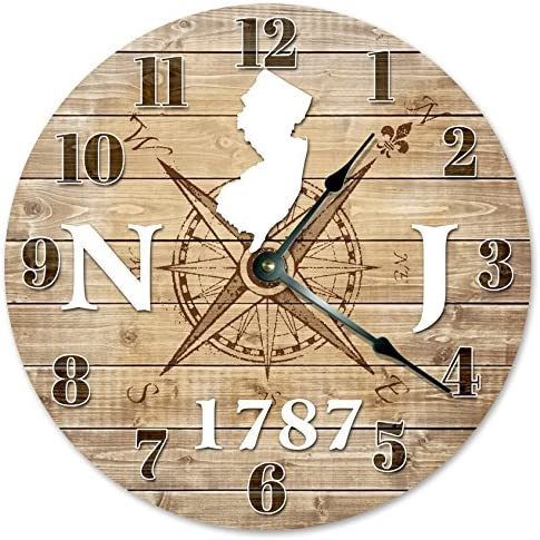 Sugar Vine Art New Jersey Clock Established in 1787 Decorative Round Wall Clock Home Decor Large 10.5 Compass MAP Rustic State Clock Printed Wood Image