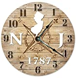 NEW JERSEY CLOCK Established in 1787 Decorative Round Wall Clock Home Decor Large 10.5″ COMPASS MAP RUSTIC STATE CLOCK Printed Wood Image Review