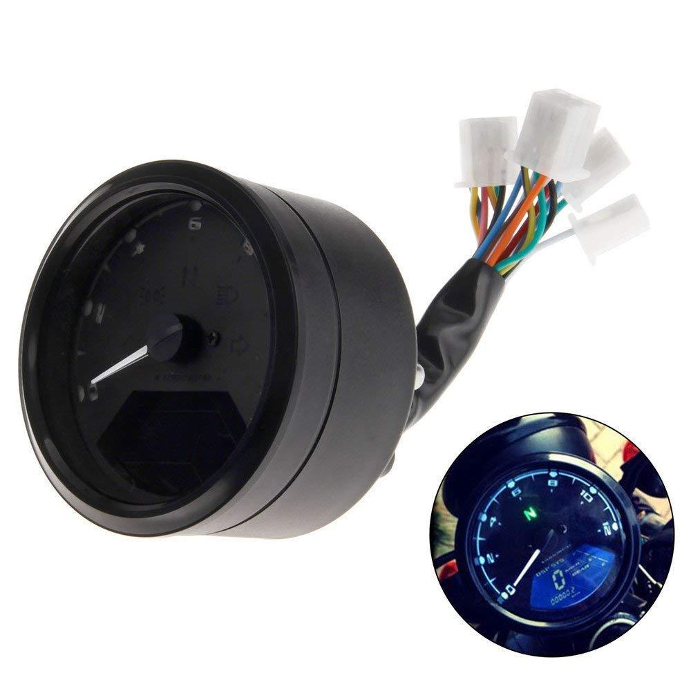 LIEFERZEIT LCD-Digital-Motorrad-Tacho Universal-Entfernungsmesser-Motorrad Backlit Tachometer Mph /… 3 bis 5 Werktage Odometer Motorrad