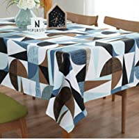 J-MOOSE Tablecloth Cotton Rectangular Abstract Nordic Colored Geometric Padded Tablecloth Linen Dust-Proof Table Cover Kitchen Dinning Tabletop Linen Decor