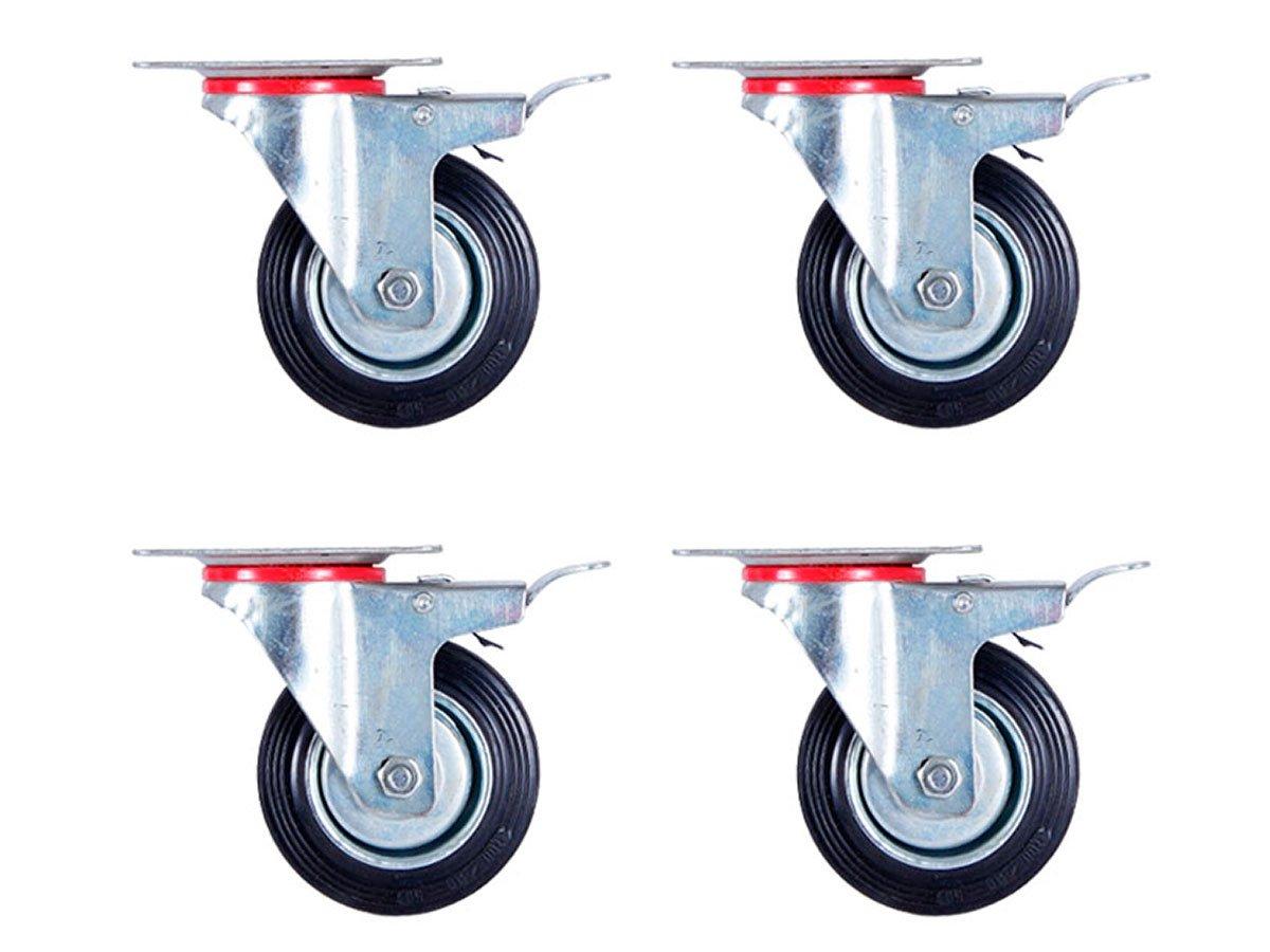 Lot de 4 Roulettes pivotantes avec frein (Set 100 mm TR-03c4) Roulette pivotante Armature en tôle acier galvanisée Roue à bandage caoutchouc noir Jantes à roulement à rouleaux économique, silencieuse , non tachant p