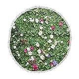 KESS InHouse Susan Sanders Green Flower Vine Wall Nature Magenta Round Beach Towel Blanket