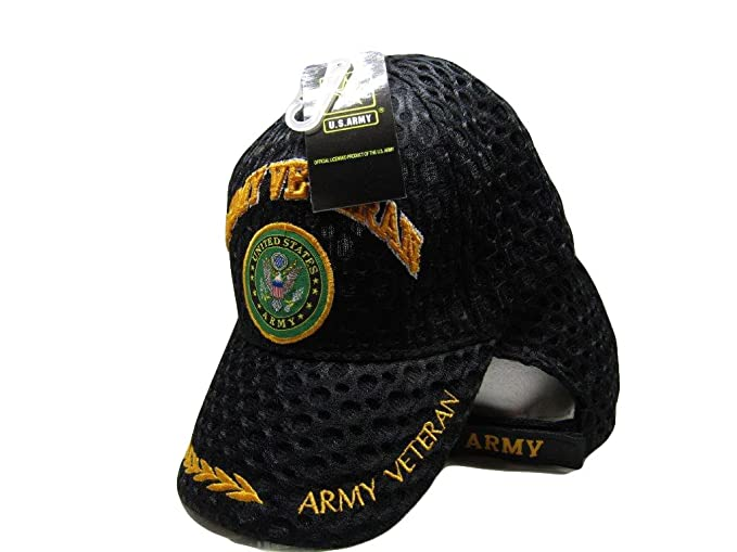87243d44b AES US Army Veteran Vet Textured Mesh Ball Cap Embroidered 3D (Licensed)
