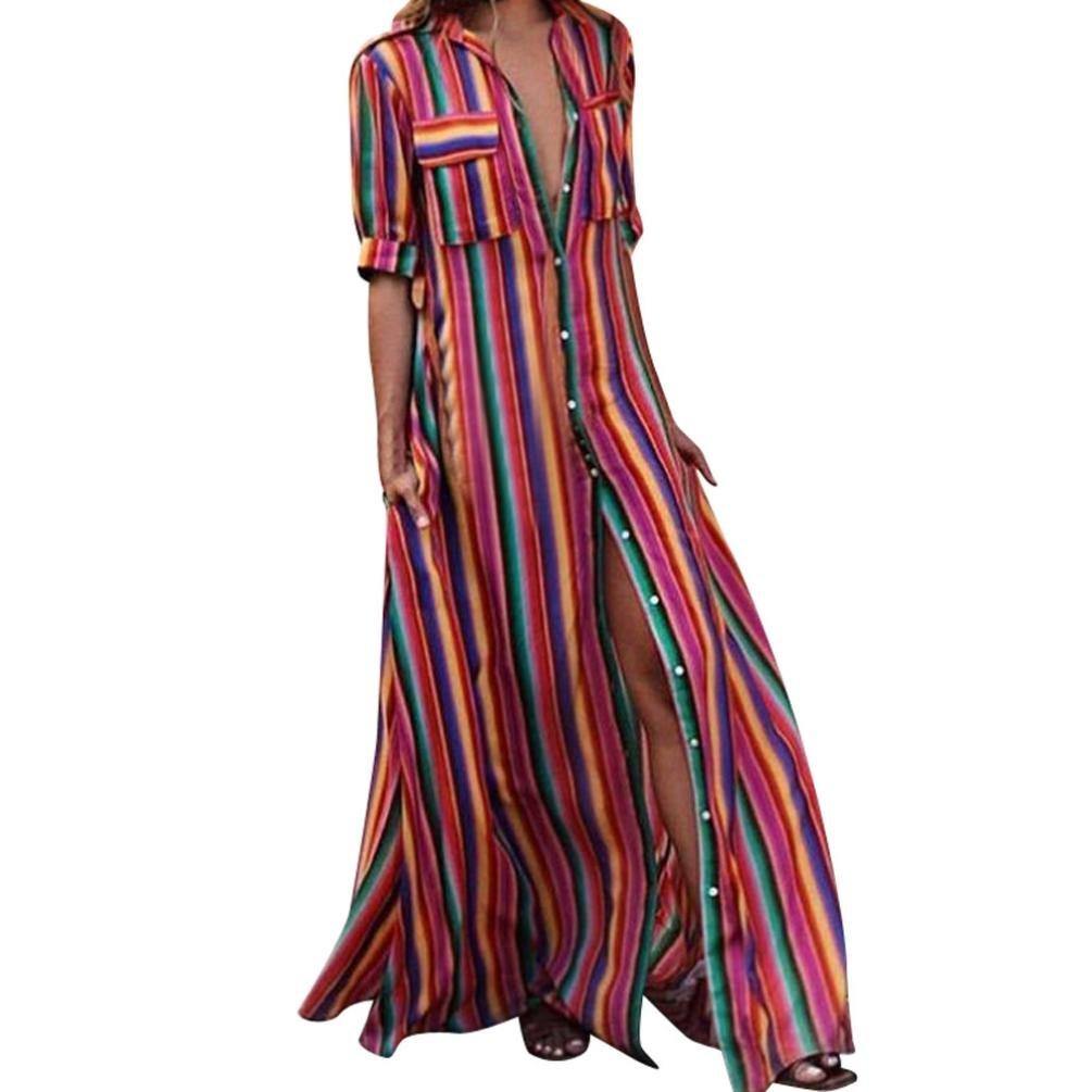 f3b229ce1c1b12 Damen Halbe Hülse Gestreiften Multicolor Lose Taste Bohe Strand Lange Robe  Kleid Party Kleider Strandkleider L: Amazon.de: Bekleidung