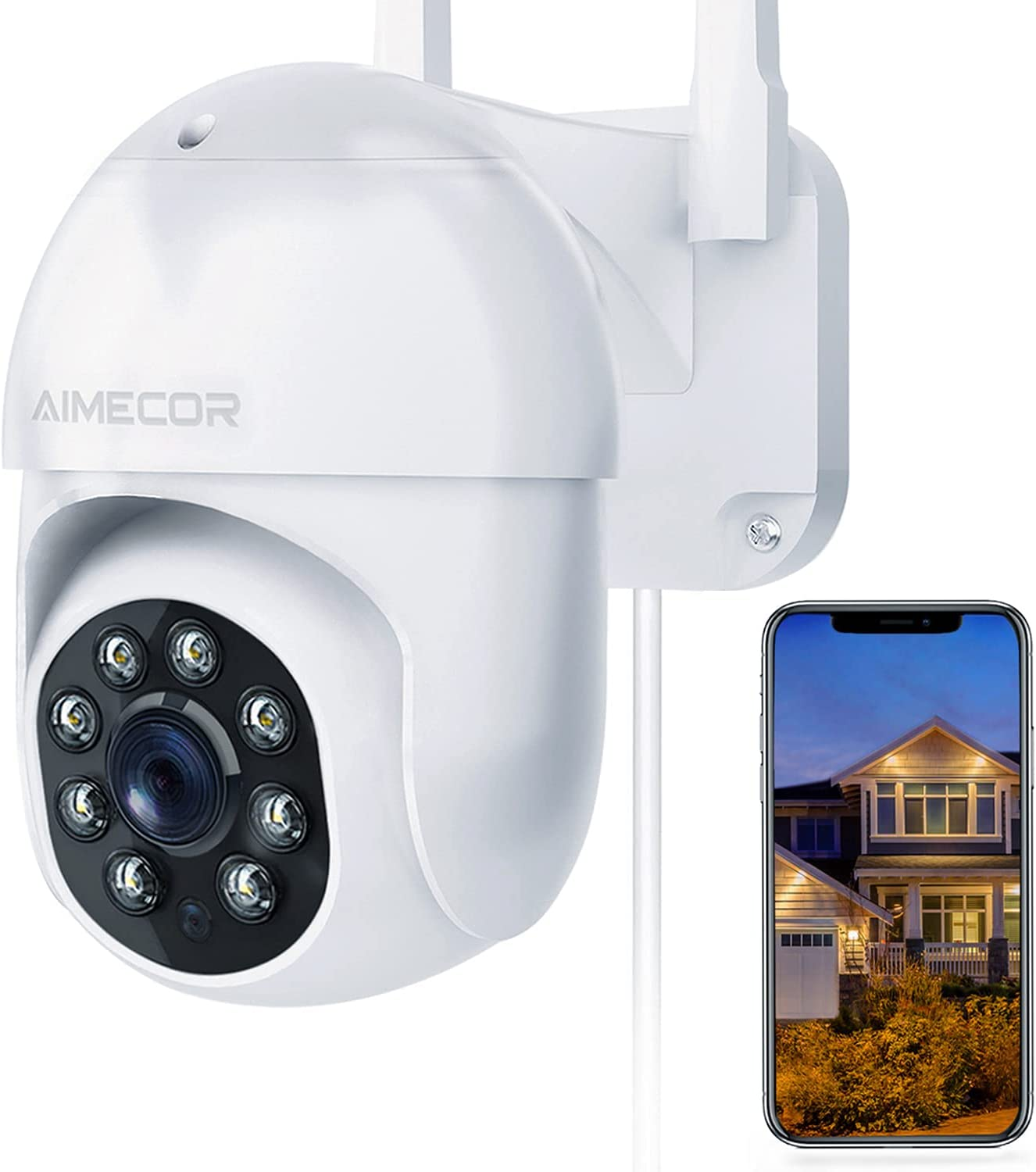 Security Camera Outdoor, FHD 1080P Pan/Tilt 2.4G WiFi Home Surveillance Camera with Night Vision 2-Way Audio Cloud Motion Detection Activity Alert IP66 Waterproof Cloud Alexa - iOS, Android