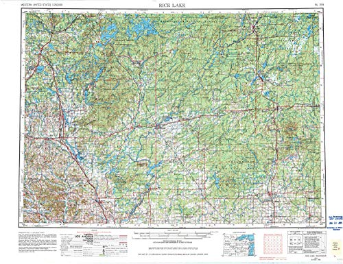 YellowMaps Rice Lake WI topo map, 1:250000 Scale, 1 X 2 Degree, Historical, 1953, Updated 1981, 22 x 28.57 in - Tyvek