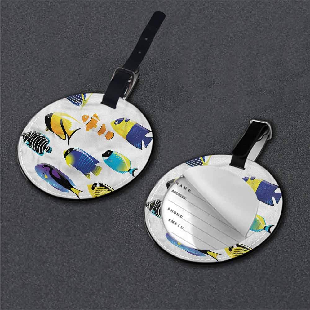 Creative Luggage Tag Fish,Colorful Corals Exotic Fishes Holder Travel Accessories