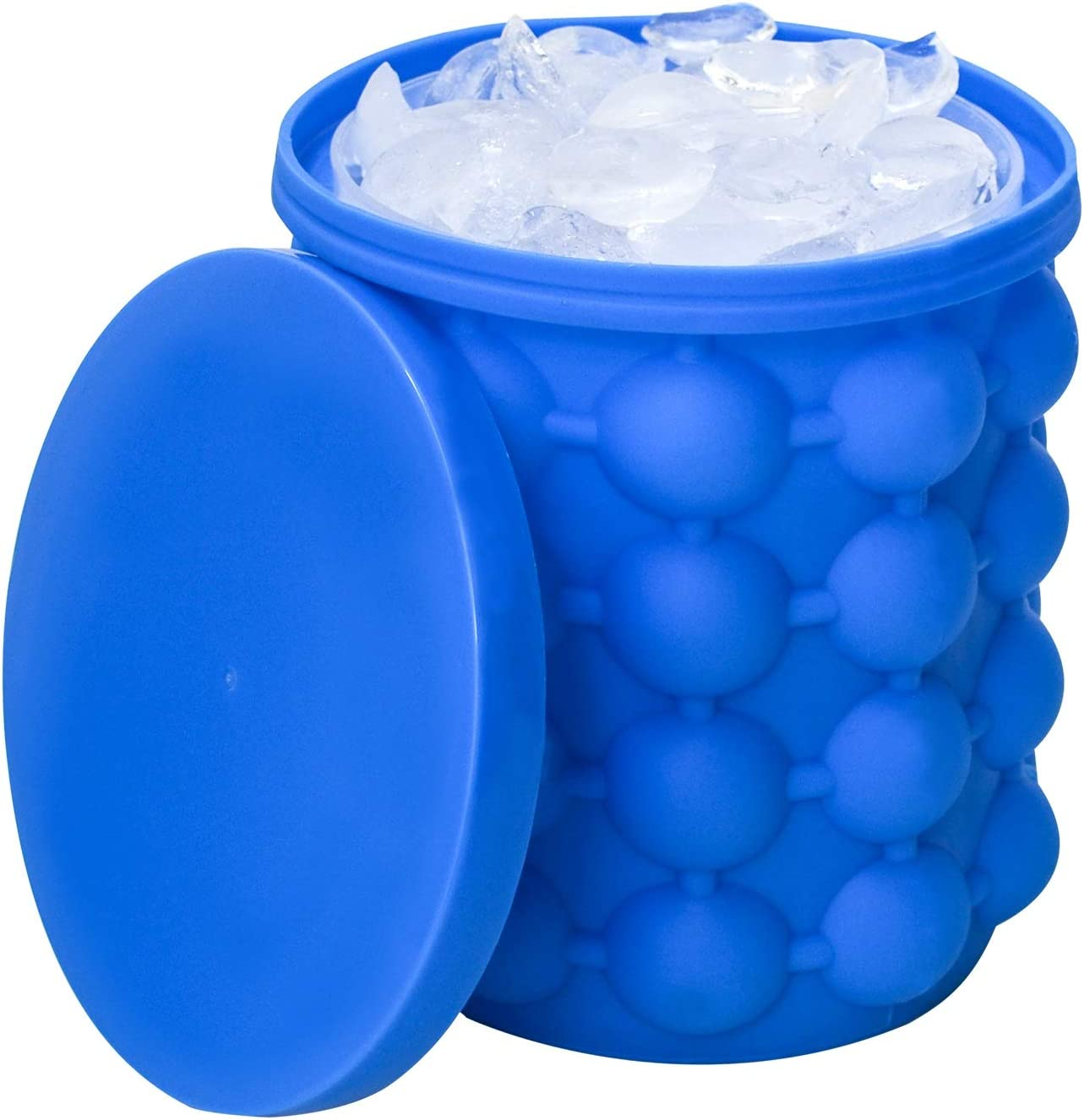 Hand-Mart Ice Cube Mold Ice Trays, Large Silicone Ice Bucket, (2 in 1) Ice Cube Maker, Round,Portable (Dark blue)