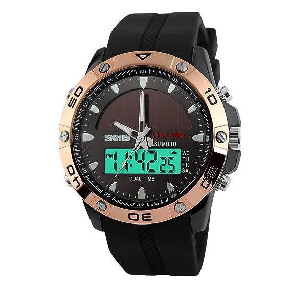 bonita rosa de silicona relojes multifunción analógicas vigilancia militar digitales deportes caso de los hombres de oro para los hombres: Amazon.es: ...