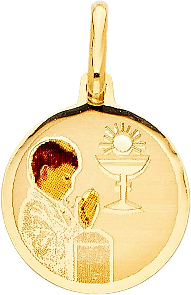 14K Tri Color Gold Baptism Charm Pendant with 2mm Figaro 3+1 Chain Necklace