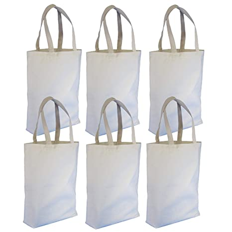 46fe30ff1c76 Reusable Canvas Tote Shopping Bags - Reinforced Grocery Tote Bags for  Shopping and Everyday Use - Universal Size Made With Strong Cotton Fabric -  ...