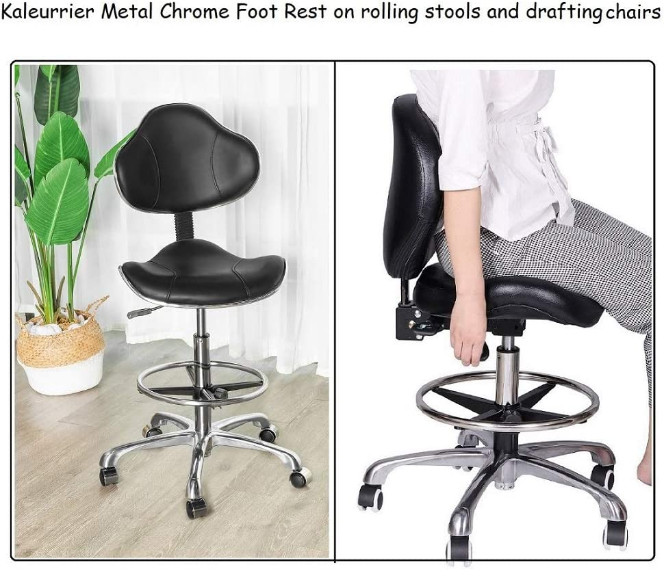 Kaleurrier Metal Chrome Foot Rest Foot Ring for Studio Drafting Chair Office Stool Salon Stool,16 inches