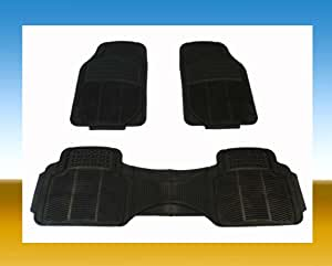 COUNTRY ONE Rubber CAR MATS All Weather 3-PCS 2-Rows Color Black