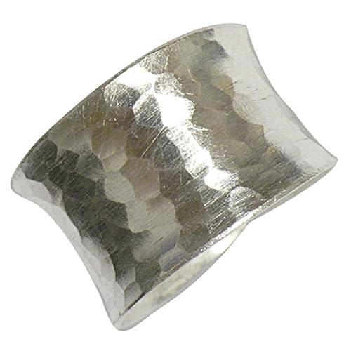 Anillo plata 15 mm de ancho amartillado abierto ajustable anillos de ley 925 silber| Mujer