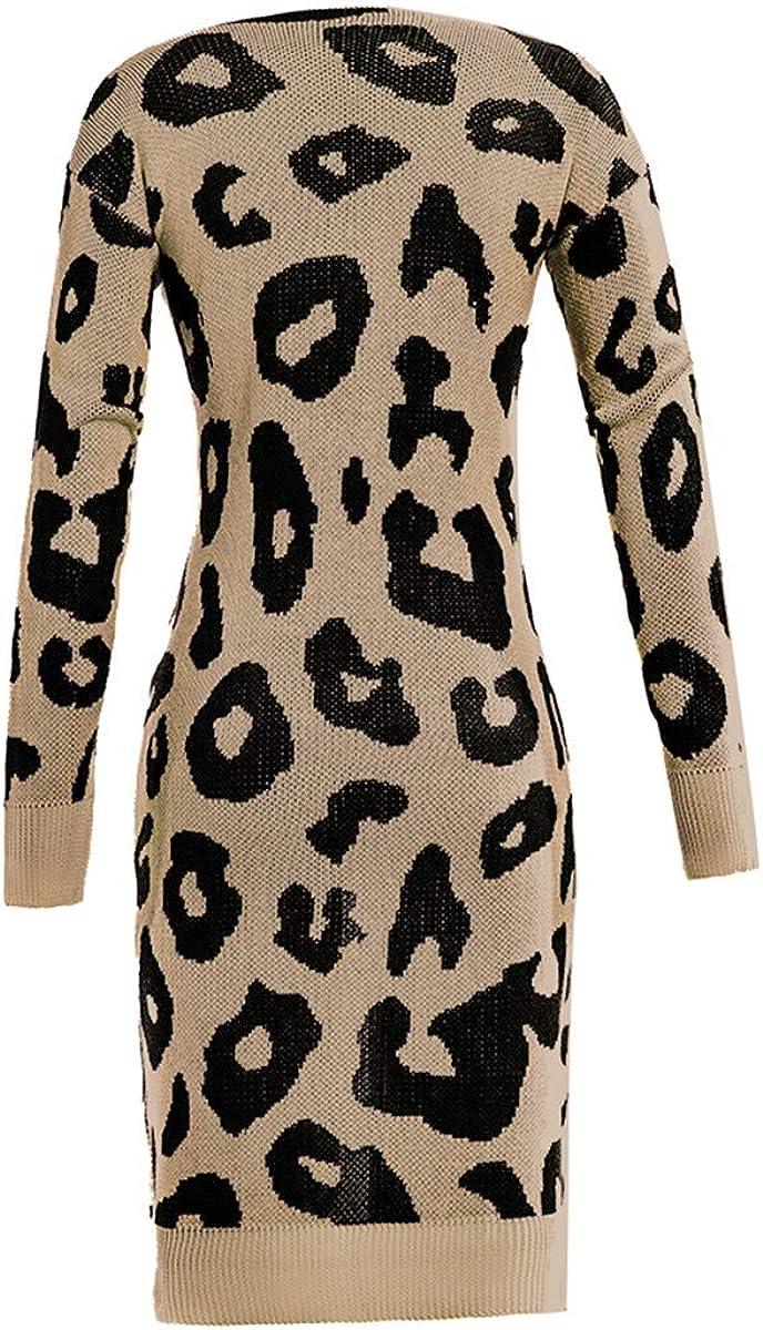 LATH.PIN Cardigan Donna Maniche Lunghe Maglione Top Casual Elegante Giacche Invernale Autunno Aperto Sciallato Cappotto Giacca in Maglia Leopardata