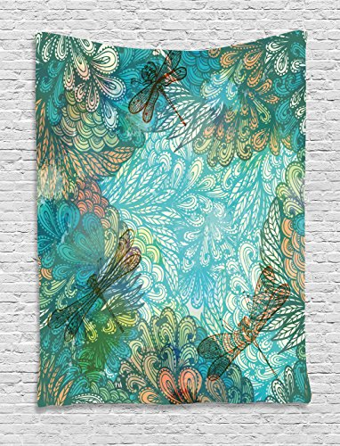 Ambesonne Dragonfly Tapestry, Fantasy Flowers Mixed in Various Tones Shabby Chic Feminine Beauty Print, Wall Hanging for Bedroom Living Room Dorm, 60 W X 80 L Inches, Turquoise Amber -