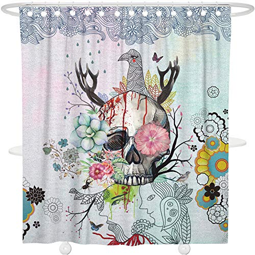 Bonsai Tree Art Skull Fabric Shower Curtain,Waterproof and Mildew Resistant Polyester Colorful Floral Sugar Skull Bath Curtain with ()