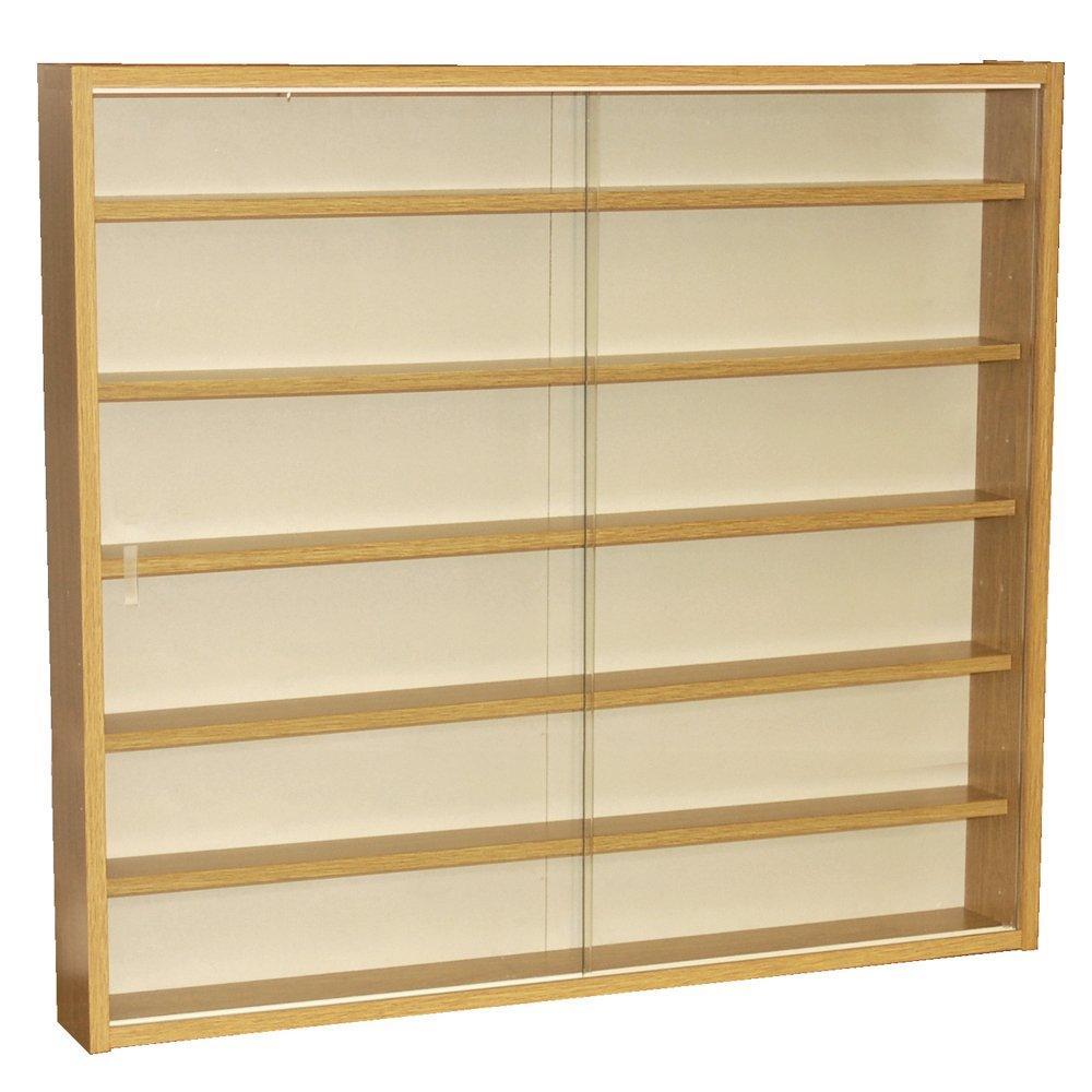 Watsons on the Web Reveal - 6 Shelf Glass Wall Display Cabinet - Oak