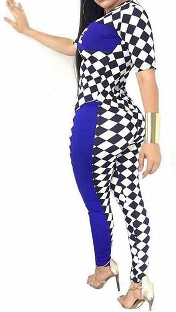 Fubotevic Womens Slim Biker Outfits Sets Casual T-Shirt and Pants Jumpsuit Romper