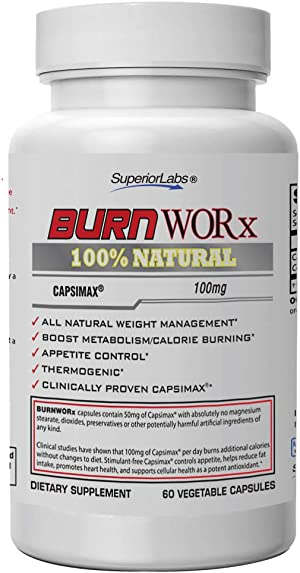 Superior Labs Burn Worx – All-Natural Weight Management Supplement Helps Boost Metabolism, Supports Calorie Burning While Enhancing Energy Levels – Metabolic Enhancer with Capsimax