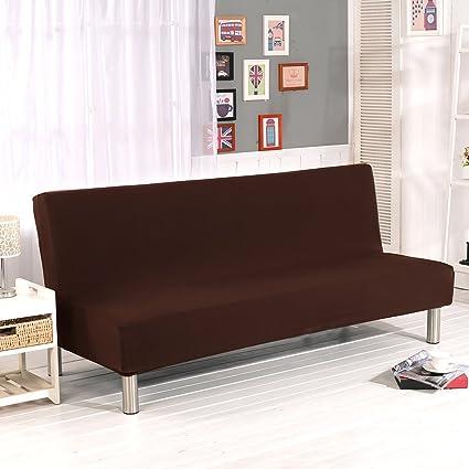 Fundas de sofá de color sólido sin reposabrazos, de tela poliéster elastano, protector para sofá de plazas que se ajusta a sofá cama plegable sin ...